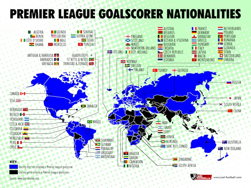 A Map Showing Every Country That Has Produced A Goalscorer In The Premier League Soccer