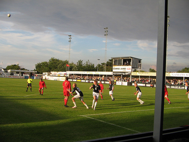 Rhyl FC in action under Niall McGuinness, Europe's youngest top flight manager